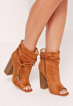 Tan Faux Suede Rouched Wrap Peep Toe Ankle Boots