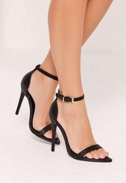 Faux Leather Pointed Toe Croc Barely There Heels Black