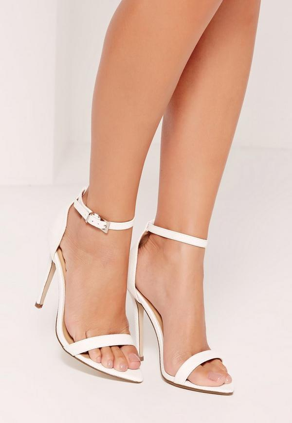 Faux Leather Pointed Toe Croc Barely There Heels White