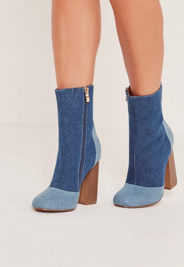 Patchwork Denim Ankle Boots