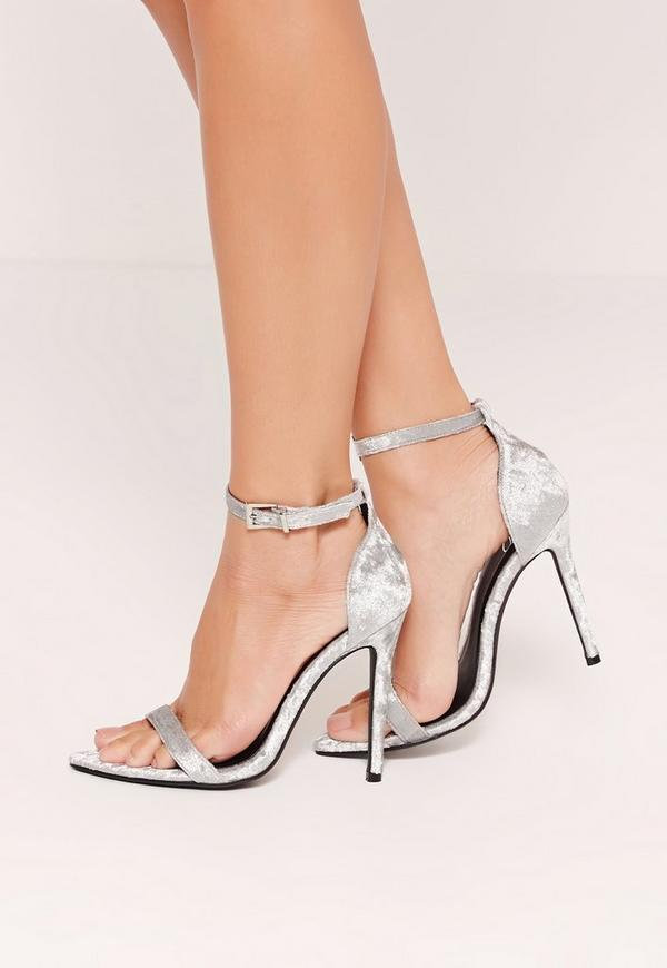 Velvet Pointed Toe Barely There Heels Grey