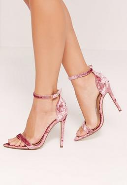 Pink Velvet Pointed Toe Barely There Heels