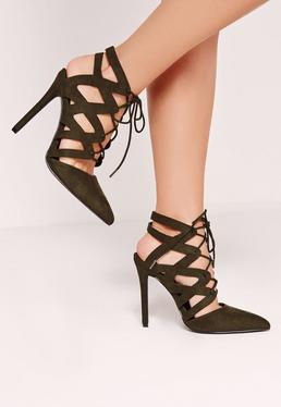 Khaki Cross Strap Lace Up Pumps