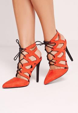 Red Cross Strap Lace Up Pumps
