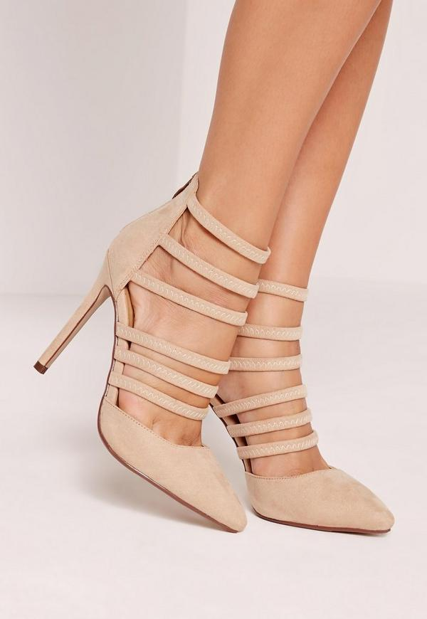 Nude Elastic Strap Court Shoes