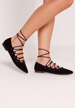 Stud Lace Up Flat Shoe Black