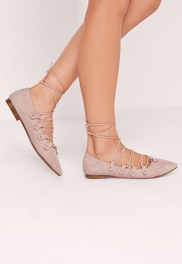 Stud Lace Up Flat Shoe Grey