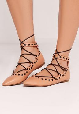 Eyelet Detail Lace Up Flat Shoe Nude
