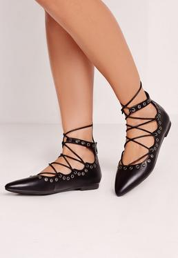 Eyelet Detail Lace Up Flat Shoe Black