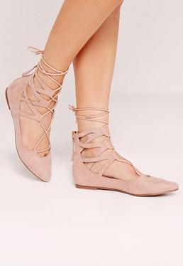 Chaussures plates pointues rose à lacets