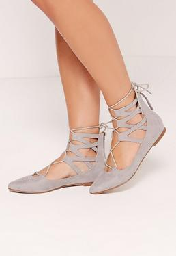 Ghille Lace Up Pointed Flat Shoes Grey