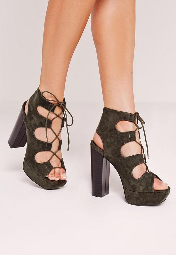 Lace Up Platform Heeled Sandals Khaki
