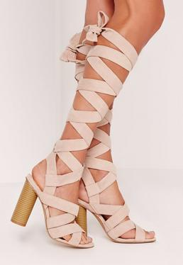 Strappy Wrap Around Block Heel Sandal Nude