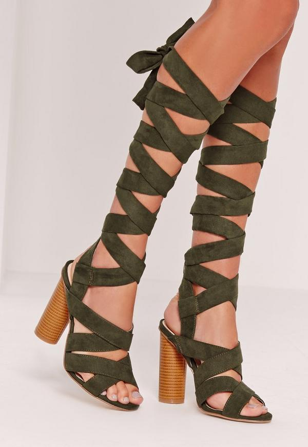 Strappy Wrap Around Block Heel Sandal Khaki