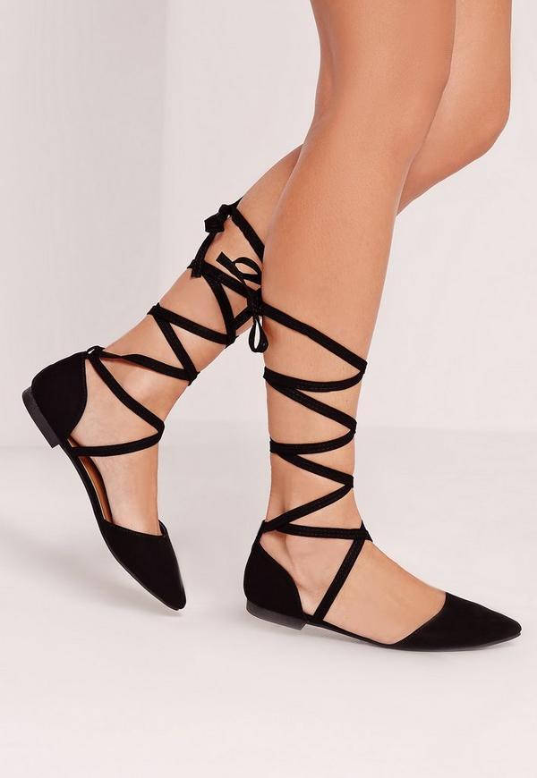 D'orsay Ballerina Tie Ankle Strap Shoe Black