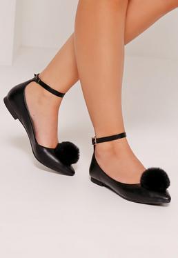 Pom Pom Pointed Ballerina Shoes Black