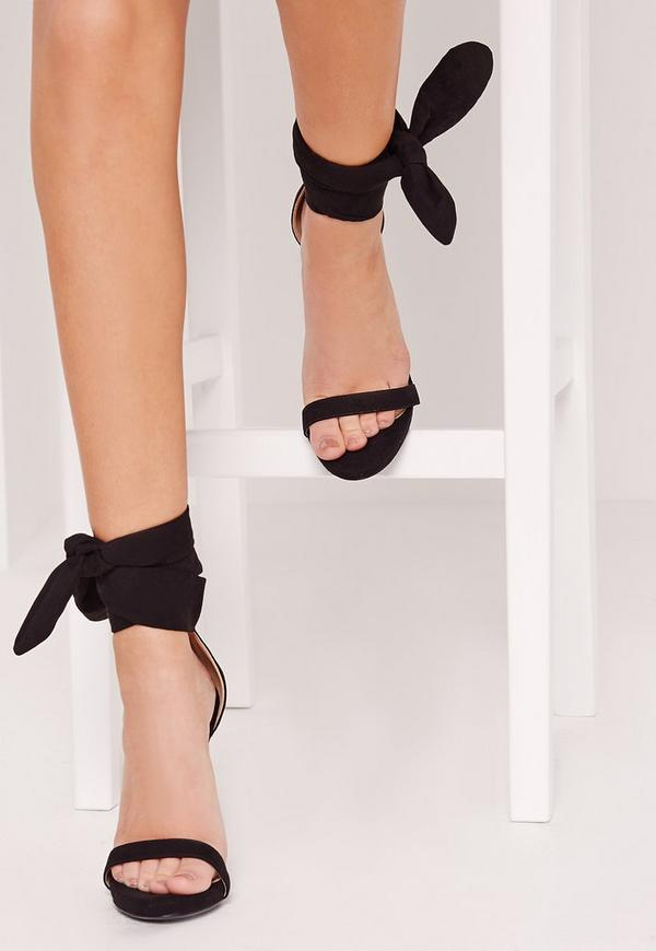 Ankle Tie Heeled Sandal Black