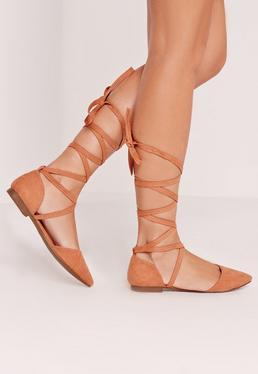 D'orsay Ballerina Tie Ankle Strap Shoe Pink