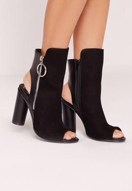 Ring Pull Cut Out Heeled Ankle Boots Black
