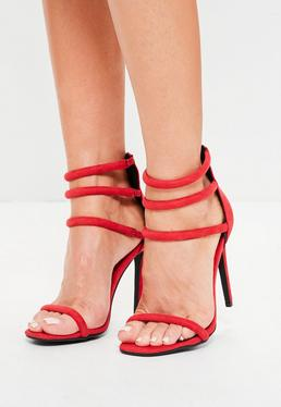 Red Rounded Four Strap Barely There Heels