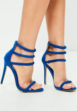 Rounded Strap Barely There Sandals Cobalt Blue