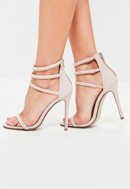 Rounded Four Strap Barely There Heels Grey