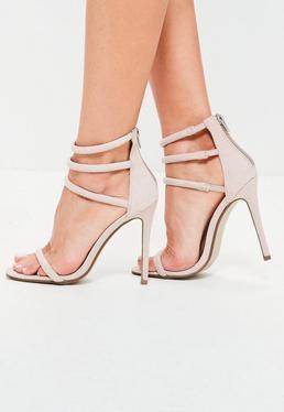 Zarte High Heels mit vier runden Riemen in Grau
