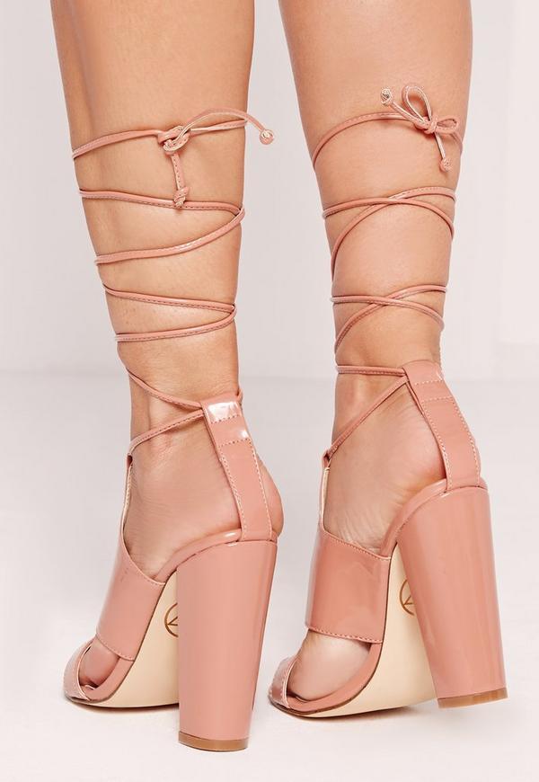 Tie Ankle Strap Block Heel Blush Pink | Missguided