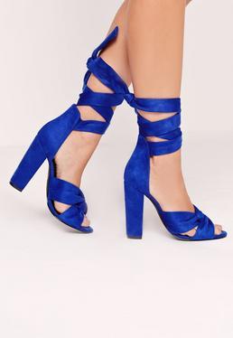 Sandales bleu roi torsadées à talon carré
