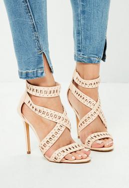 Beżowe sandały na szpilce z paskami
