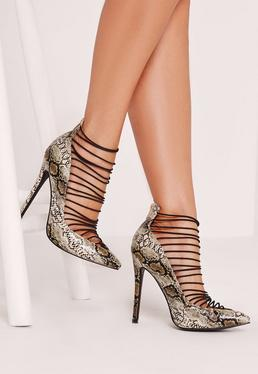 Nude Snake Effect Elastic Strap Court Shoes
