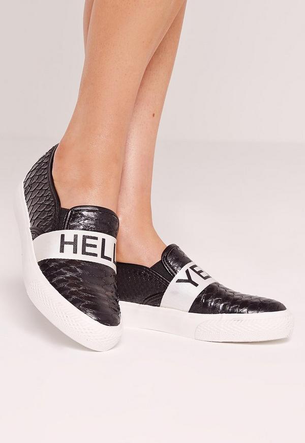 Hell Yeah Slogan Skater Pumps Black