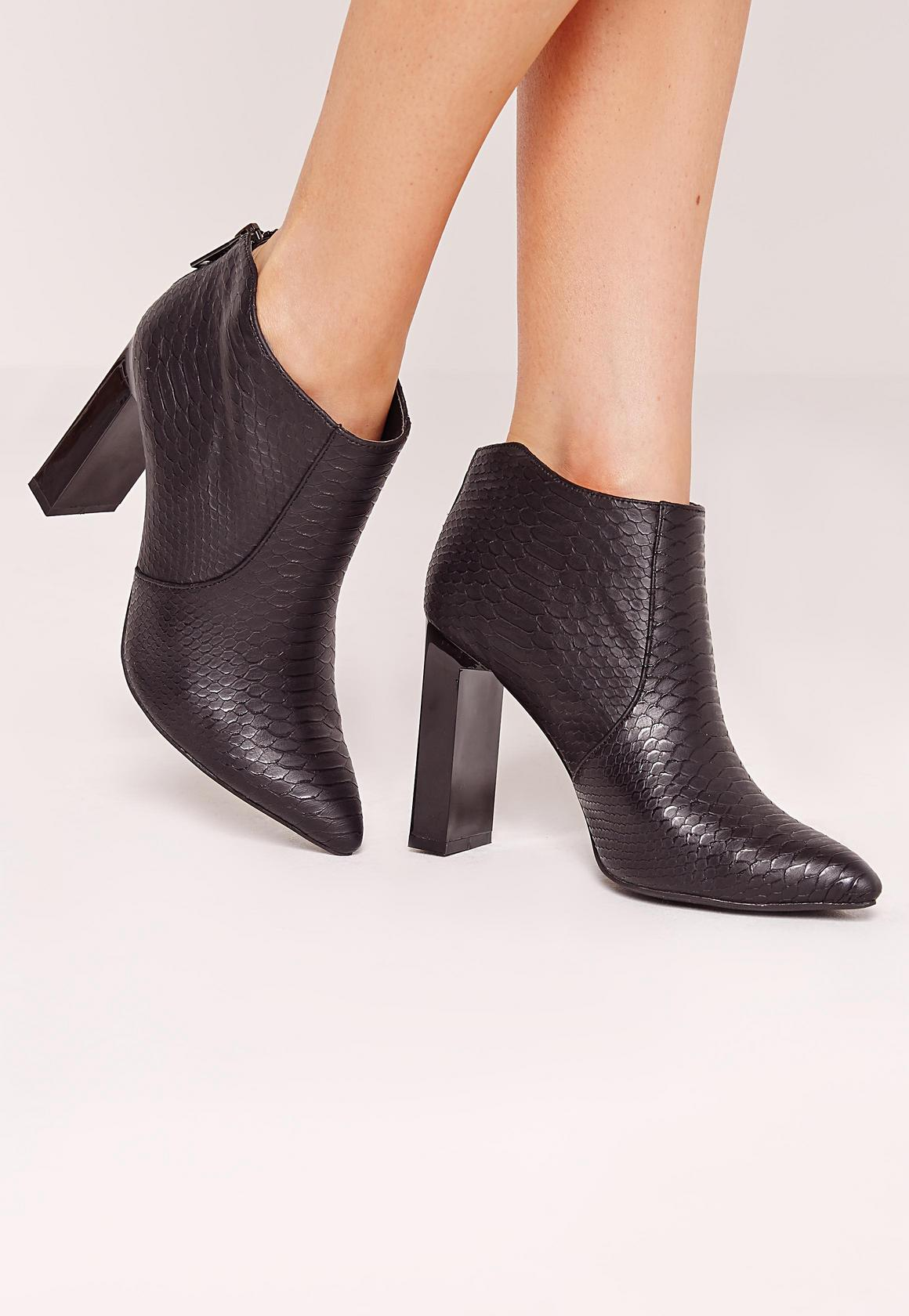 bottines noires effet croco à talon carré | missguided