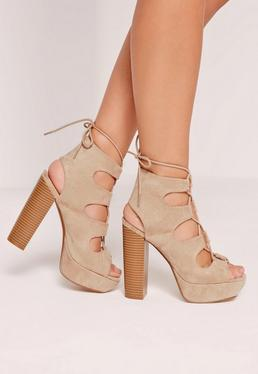 Lace Up Platform Heeled Sandals Nude
