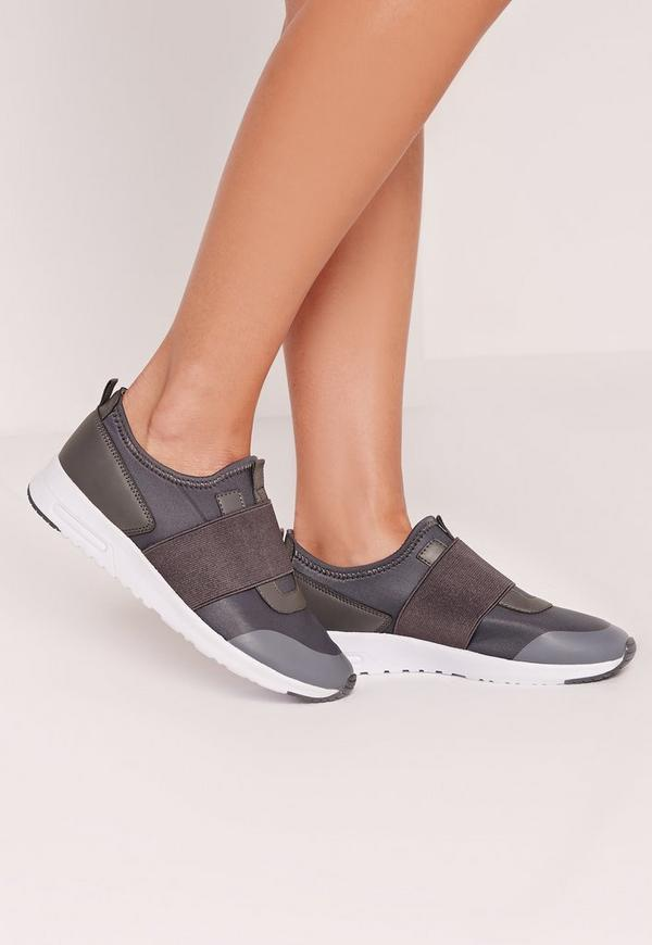 Elastic Strap Fashion Trainer Grey