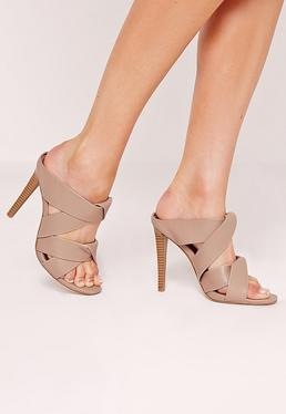 Twist Strap Slip On Heeled Mules Brown