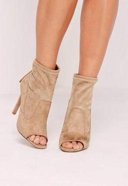 Nude Faux Suede Peep Toe Heeled Sock Boots