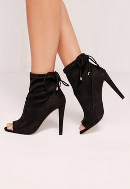 Peep Toe Heeled Sock Boots Black