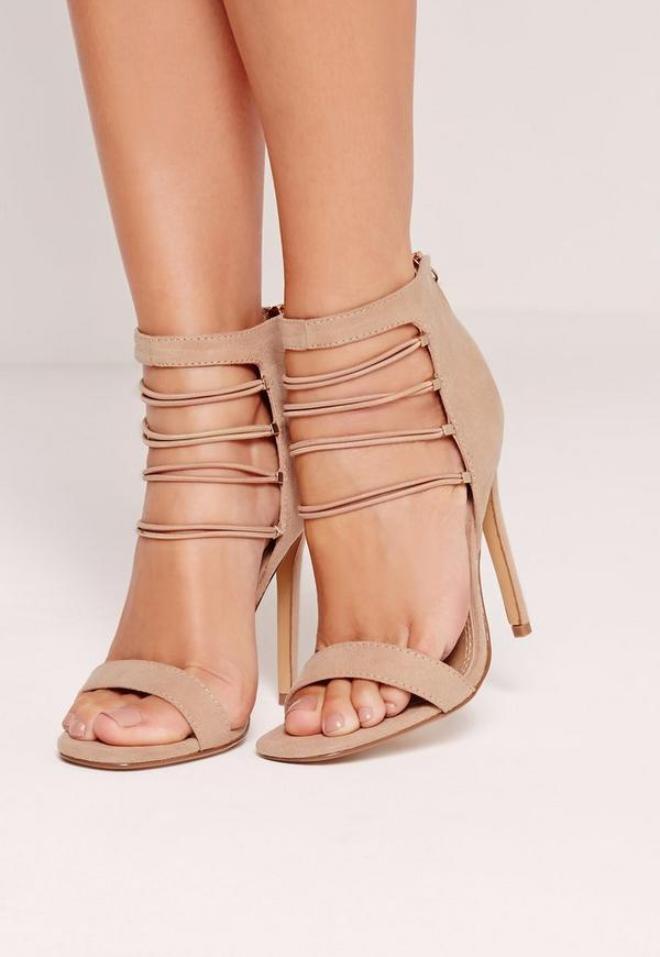 Strappy Elastic Barely There Heeled Sandals Nude