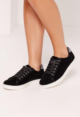Black Velvet Glitter Tab Sneakers