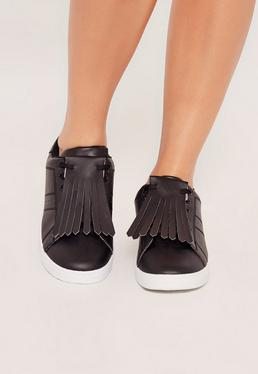 Black Tassel Front Trainers