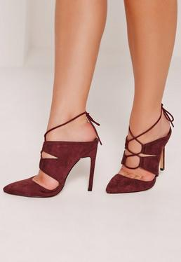 Lace Up Court Mules Burgundy