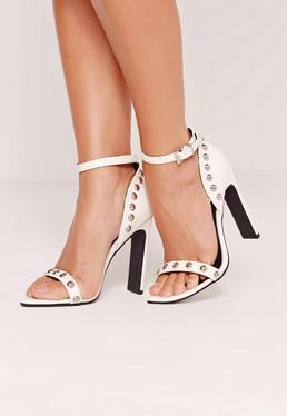 Studded Pointed Toe Barely There Heels White