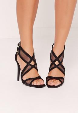 Mesh Panelling Strappy Gladiator Heels Black