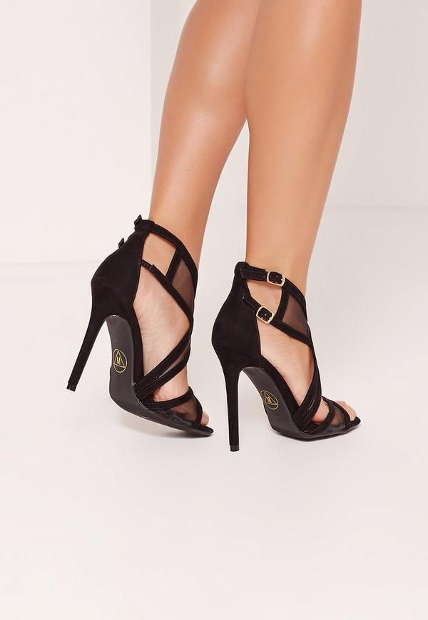 Mesh Panelling Strappy Gladiator Heels Black | Missguided