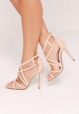 Mesh Panelling Strappy Gladiator Heels Nude