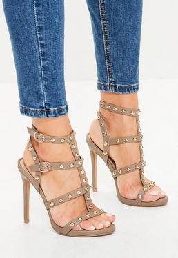Dome Studded Gladiator Heels Brown