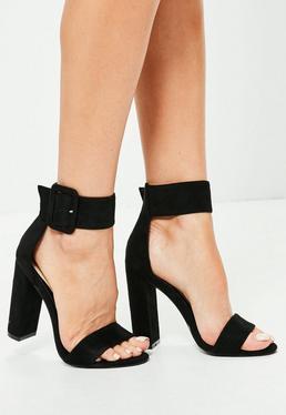 Oversized Buckle Block Heels Black