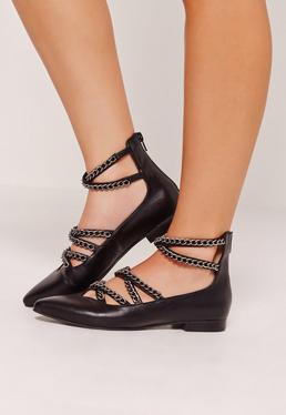 Chain Detail Pointed Flat Shoes Black