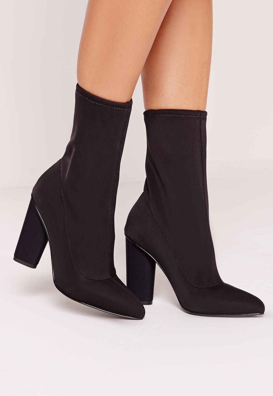 Pointed Toe Neoprene Heeled Ankle Boots Black | Missguided